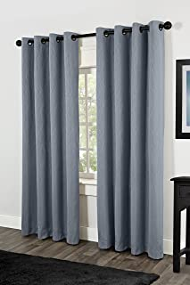 """Exclusive Home Crete Textured Jacquard Thermal Window Curtain Grommet Top Panels 54"""" X 84"""", Steel Blue, Set of 2 / Pair"""