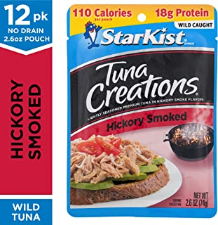 StarKist Tuna Creations, Hickory Smoked, 2.6 oz. Pouch, Pack of 12 – Dolphin Safe, Wild Caught On-the-Go Tuna Pouches – Keto, Mediterranean, Weight Watchers and Whole30 Diet Friendly