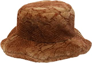 La Carrie Women's Snakeskin Print Faux Fur Bucket Hat Winter Warmer Fisherman Cap