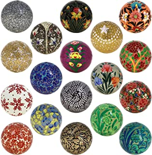 Christmas Tree Hanging Ornaments Handmade Paper Mache Balls 3 Inch Set of 18