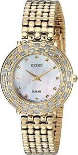 Seiko Women's TRESSIA Japanese-Quartz Watch with Gold-Tone-Stainless-Steel Strap, 13 (Model: SUP374)