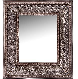 Vipalia Espejo de Madera de Abeto y Aluminio Repujado. Mueble Dormitorio. Estilo Clasico. Lacado. Medidas 81x7x95 cm. Cole...