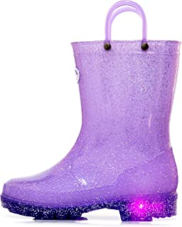 Outee Toddler Kids Adorable Glitter Light Up Rain Boots for Easter Gift