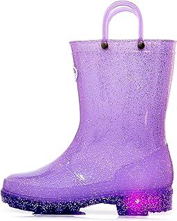 Outee Girls Kids Adorable Glitter Light Up Rain Boots