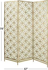 "Deco 79 Modern Metal 3-Panel Room Divider, 79"" H x 57"" L, Textured Gold Finish"