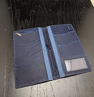 Hobonichi Weeks Mega Cover/Travelers Notebook Wallet B6 Slim Leather Gold Stamp (Blue)