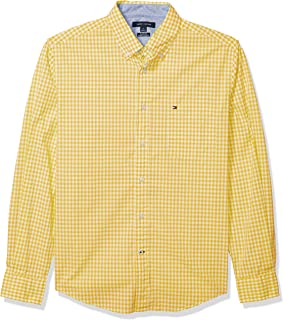 Tommy Hilfiger Men's Long Sleeve Button Down Shirt in Classic Fit, Lemon Zest, X-Large