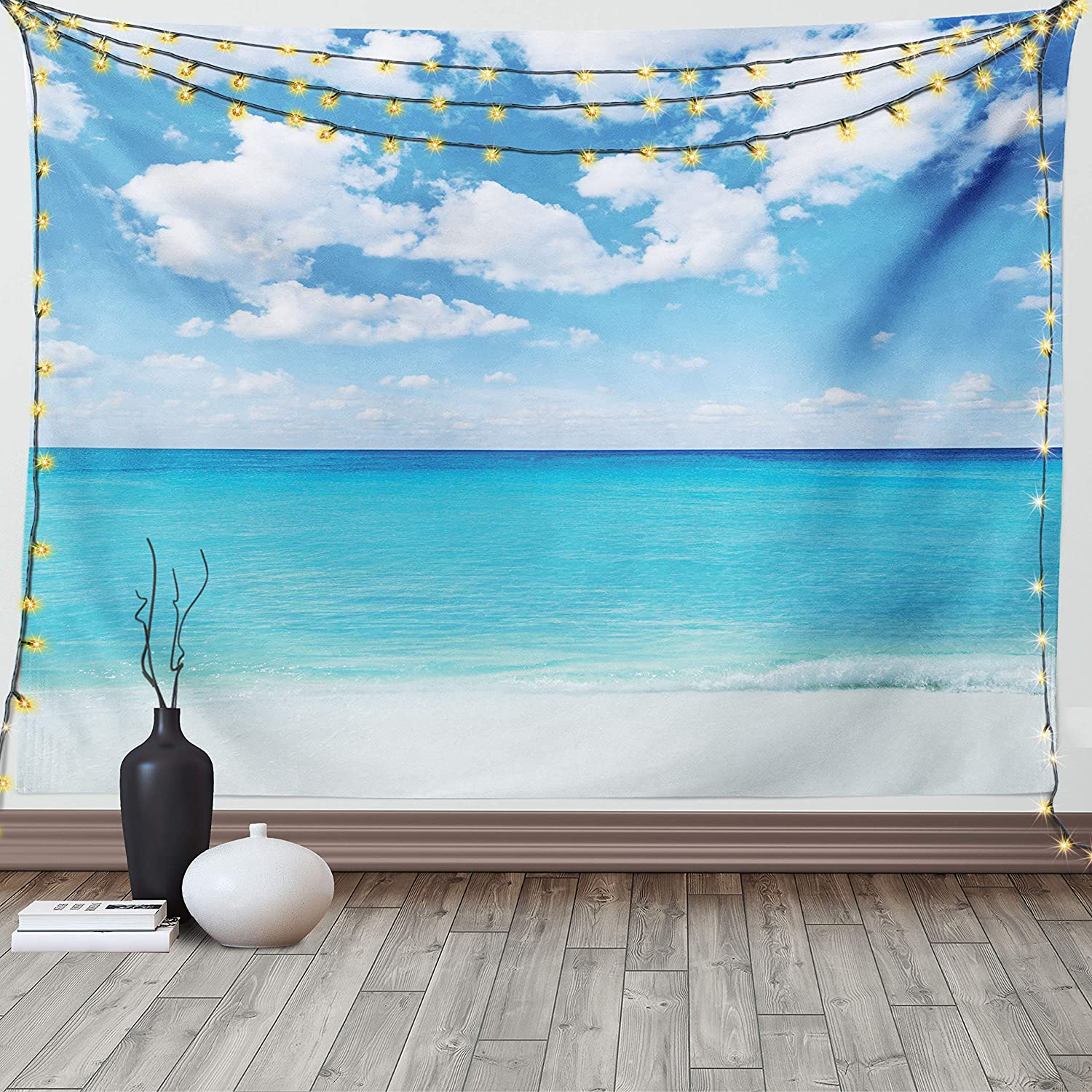 Ambesonne Ocean Tapestry Surreal Tropical Seascape With Dreamy Sea And Sky Paradise Coast Hawaiian Art Wide Wall Hanging For Bedroom Living Room Dorm 60 X 40 Turquoise White Home Kitchen