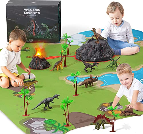 discount Dinosaur Toys with Volcano, Mat & Trees. Mist-spouting Volcano 2021 Set, Create a Dino World Including high quality T-Rex,Triceratops, for Kids, Boys & Girls (Mat Size 63x63) outlet sale