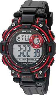 ساعة Armtron Sport للجنسين 45/7066RED حمراء مزخرفة رقمية كرونوغراف غير لامعة سوداء بسوار من الراتنج