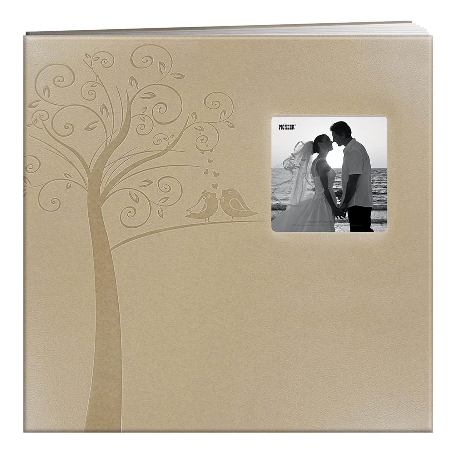 Pioneer Photo Albums MB-10EW Postbound Embossed Leatherette Frame Cover Wedding Memory Book, 12-Inch by 12-Inch, Tree