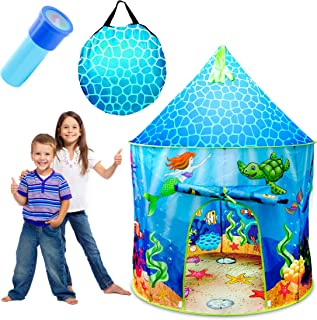 USA Toyz Under The Sea Kids Tent - Mermaid Kids Play Tent, Indoor Playhouse with Pop Up Tent Storage Tote and Kaleidoscope Toy