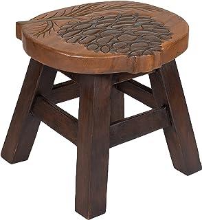 Sea Island Imports Pinecone Design Hand Carved Acacia Hardwood Decorative Short Stool