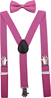 Mens' Suspenders and Bow Tie Set with Hand Clips for Wedding Party