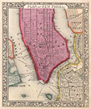 Historic Map - Mitchell Map of New York City, New York (First Edition) -, 1860 - Historical Antique Vintage Decor Poster Wall Art - 24in x 28in