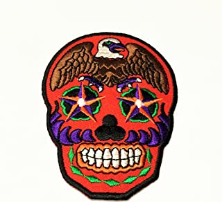 Patch Portal Bald Eagle Skull Red Patriotic 3.5 Inches Brown Bird Animal Biker Rocker Motorcycle Skeleton Embroidered Iron...