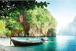 GREAT ART Fotobehang - vissersboot in tropische baai - wandafbeelding decoratie vakantie reizen strand paradijs Bay natuur...