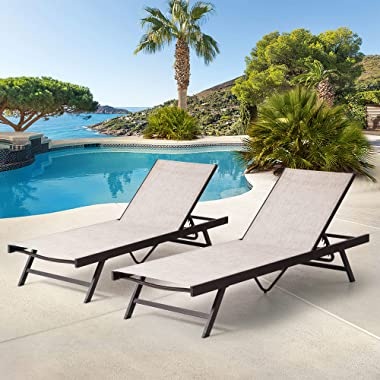 Pellebant 2PCS Adjustable Aluminum Patio Chaise Lounge Chair, 5 Positions and Lay Flat, Outdoor Recliners Lounger, All Weathe