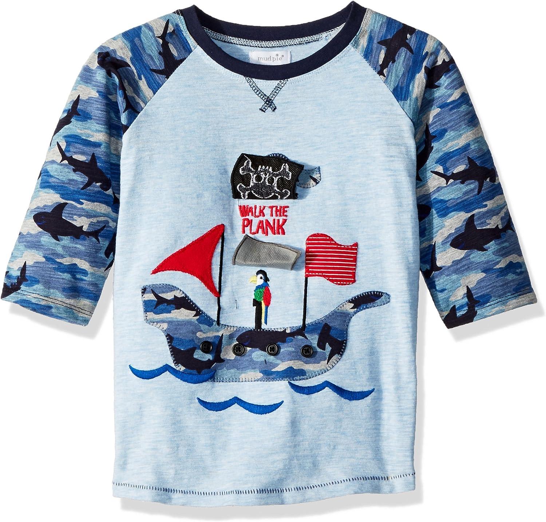 Mud Pie Baby Boys Fishing Long Sleeve Raglan T-Shirt