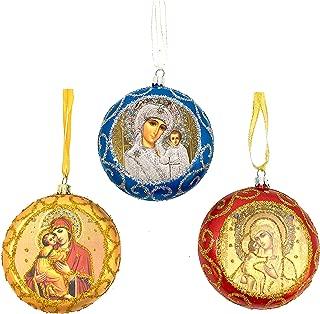 Set of 3 Icon Virgin of Kazan Vladimi Virgin Mary Ornaments for Tree