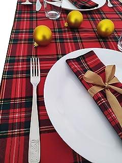 GIACALLON - Tovaglioli Natalizi in cotone Tartan Creati a Mano con fiocco oro - Decorazione Tavola Natale 2 Pezzi - Runner...