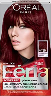 L'Oreal Paris Feria Multi-Faceted Shimmering Permanent Hair Color, R48 Red Velvet (Intense Deep Auburn), Pack of 1, Hair Dye