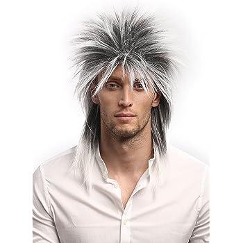 80/'s Spiky Poita Blonde Mullet Rod Stewart WIG Men/'s Rock Star Costume Wig