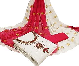 ANY FASHION Women's Chanderi Cotton Khatli Hand-Work Dress Material Salwar Suit With Dupatta Unstitcehd