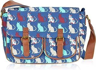 Canvas Prints Satchel Messenger Shoulder Bag (Cat Navy)