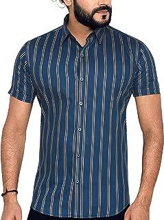 True United Men's Striped Half Sleeve Casual Shirt