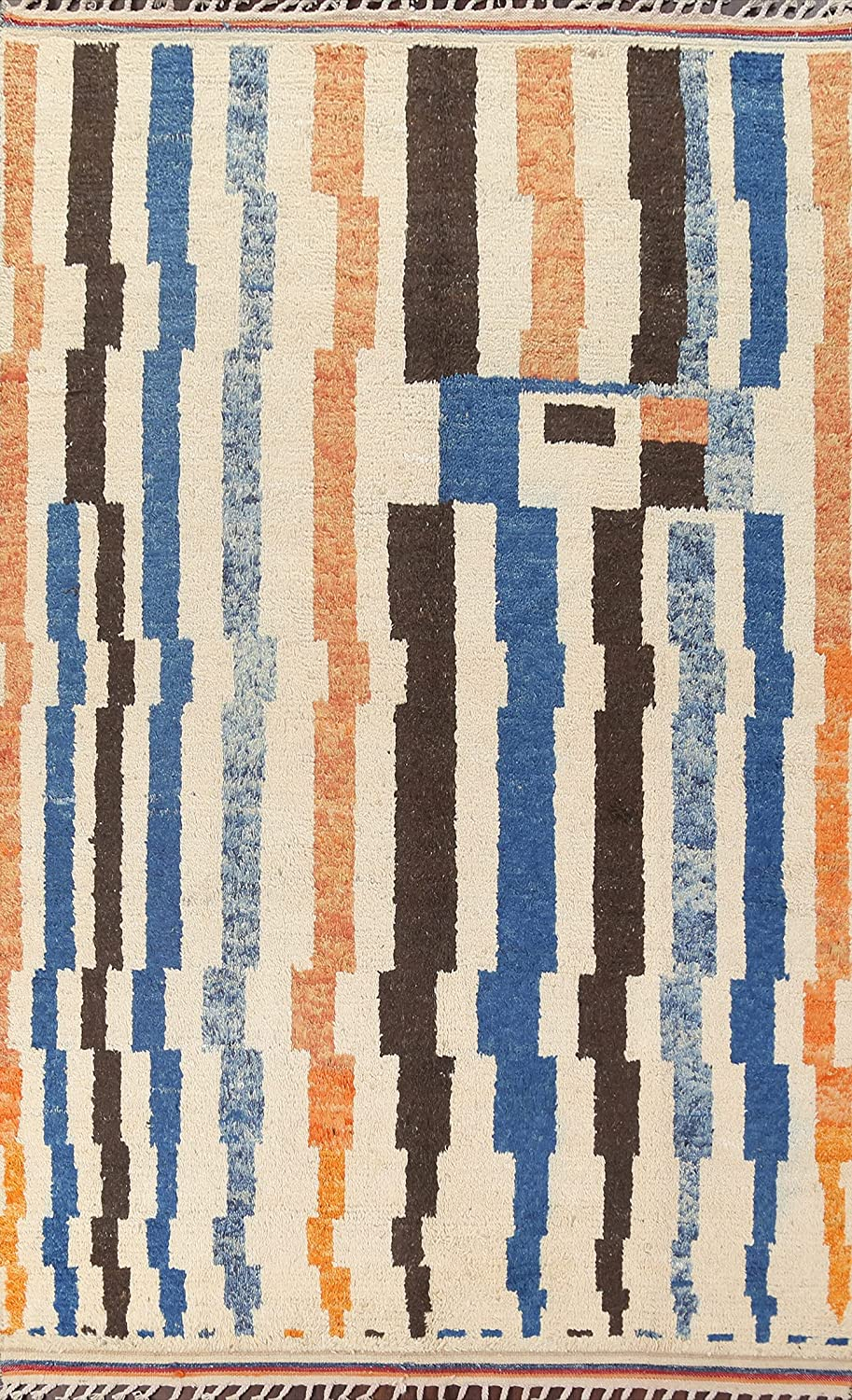Stripe Modern Moroccan Oriental low-pricing Area Wool Hand-Knotted Carpe Rug Indefinitely