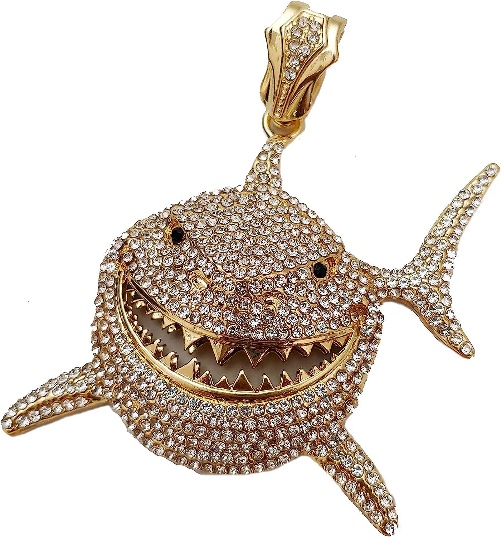 41x27mm Cubic Zirconia Pendant SKUCZD10 Micro Pave Shark Pendant CZ Shark Pendant Gold Shark Pendant