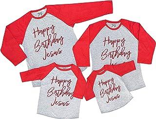 7 ate 9 Apparel Matching Family Christmas Shirts - Happy Birthday Jesus Red Shirt