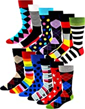 12 Pairs Pack Men's Premium Combed Cotton Fashion Funky Design Dress Socks 10-13