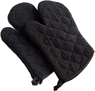 DII 100% Cotton, Terry Oven Mitts 7 x 13, Heat Resistant, Machine Washable for Everyday Kitchen Basic, Set of 2, Black