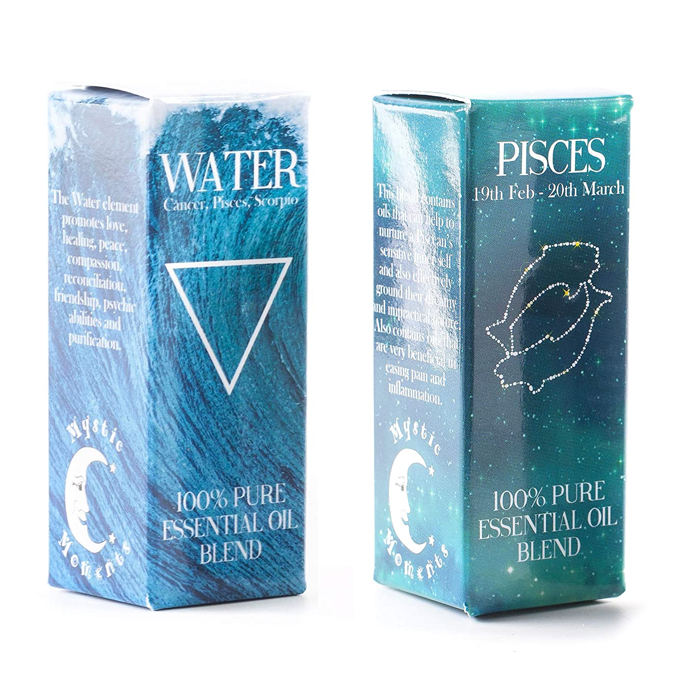 フレームワーク繊細臨検Mystic Moments | Water Element & Pisces Zodiac Sign Astrology Essential Oil Blend Twin Pack (2x10ml)
