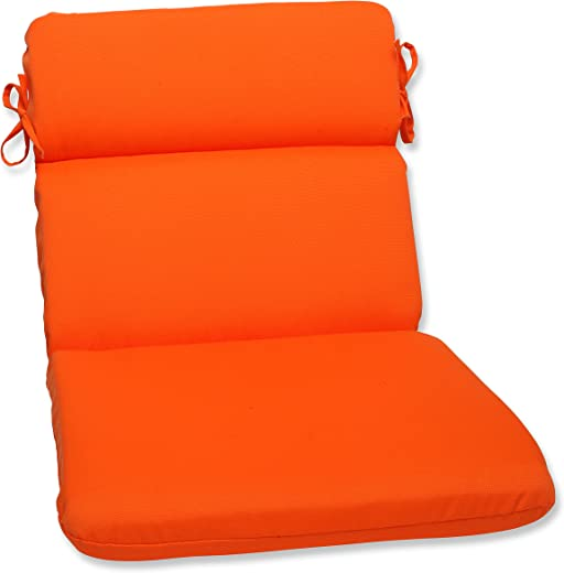B00BPUBRBA✅Pillow Perfect Outdoor Sundeck Rounded Chair Cushion, Orange