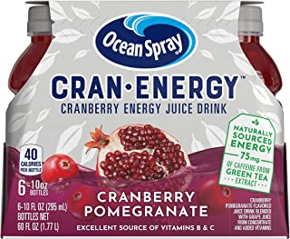 Ocean Spray, CranEnergy, Cranberry Pomegranate Energy Juice Drink, 10 Ounce Bottles (6 Bottles Total)