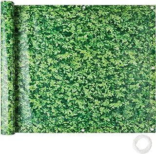 TecTake Protección Visual Balcones Revestimiento para balcón   Resistente a la Intemperie Varias tamaños (0,9 x 6 m   Hojas Verdes   No.402711)