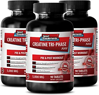Creatine Post Workout Pills - Creatine Tri Phase 5000 Mg - Improves Performance (3 Bottles - 270 Tablets)