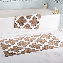 Lavish Home 2 Piece Trellis Bathroom Mat Set Taupe