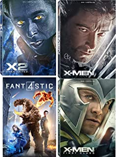 X Marvel Comics Collection - Original X-Men & X-2 United Icon Covers DVD + First Class & Fantastic Four 2015 Film Bundle
