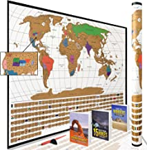 Scratch Off World Map Poster with All US States Outlined    Huge Prime Week Sale & Bundle!!    Large + Detailed Cartography - Turn Your Adventures Into Premium Art! by WTI