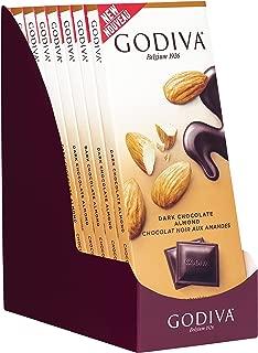 Godiva Chocolatier 90g 72% Cocoa Dark Chocolate Almond Tablet Bar, Candy Bar Bulk, Almond Bar, Candy Bars, 31.75 Ounce, 10 Pack