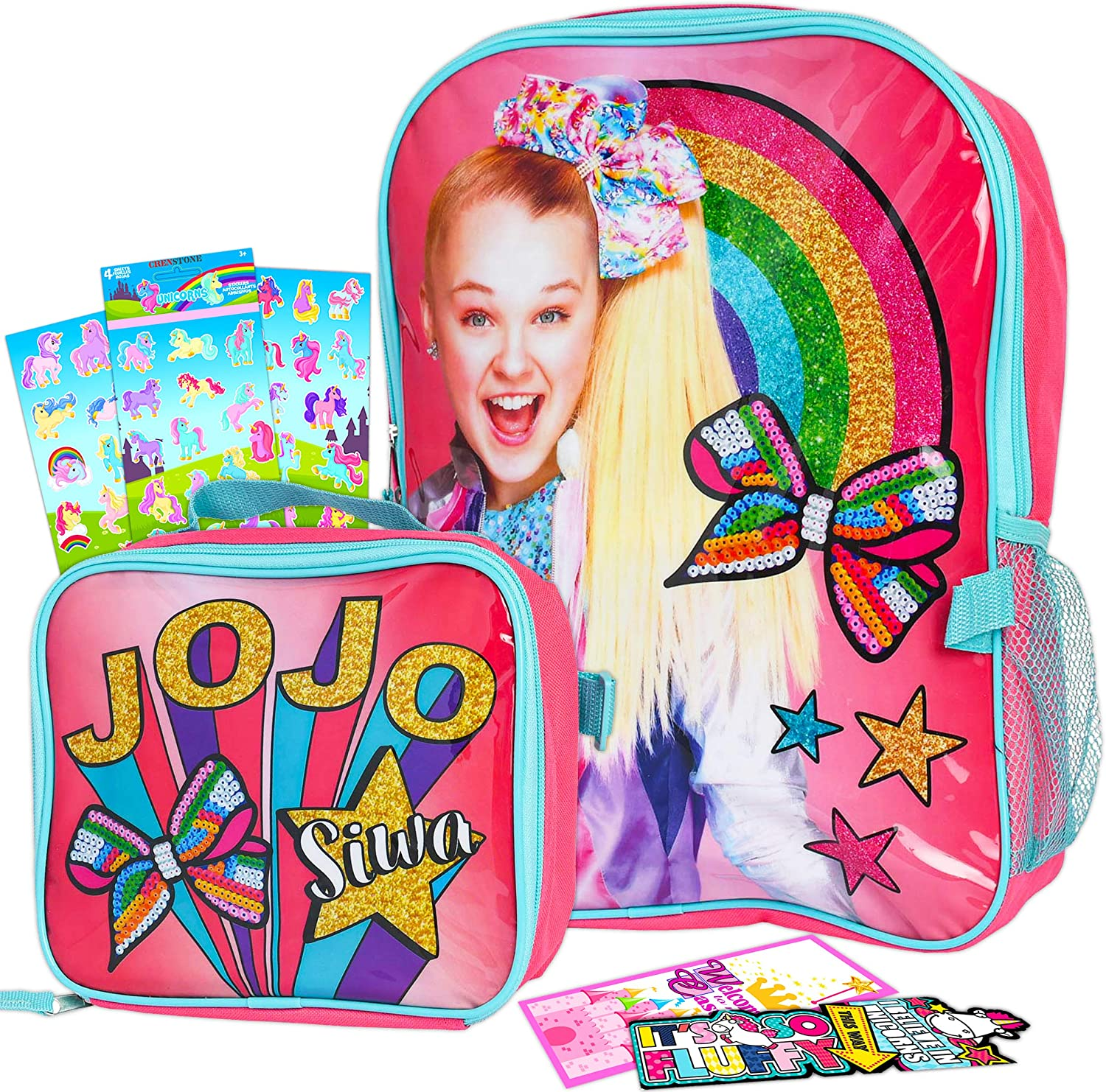 Jojo Siwa Backpack with Lunch Box For Girls 5-Pc Bundle ~ Deluxe 16
