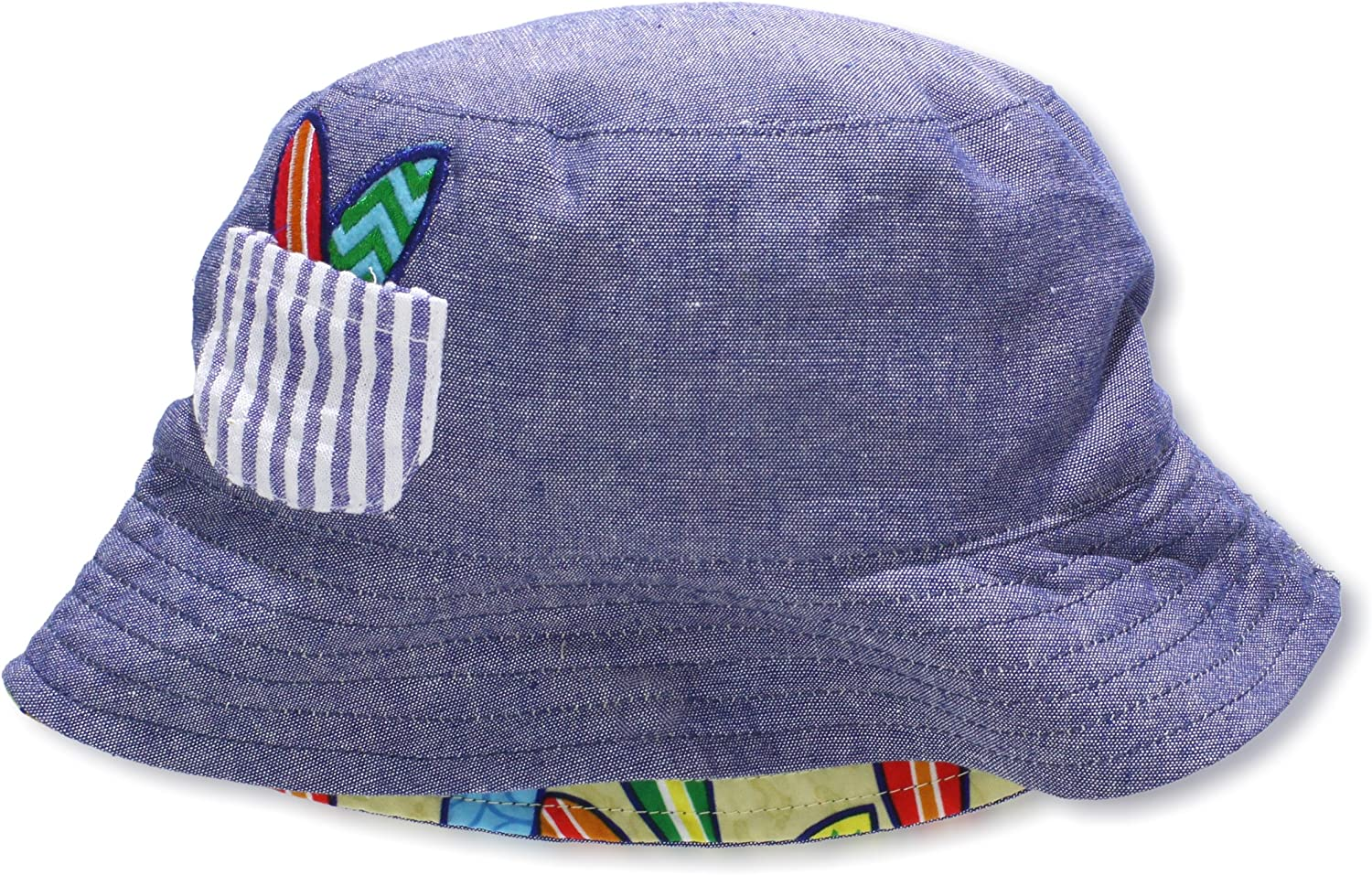 Mud Pie Baby-Boys Infant Quantity limited Chambray Reversible Year-end gift Hat Print Surfboard