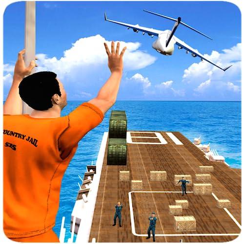 Gefangener Leben Rettung Mission In Cop Chase Verbrechen Gangster Spiele: Gefängnis entkommen Überleben im Flugzeug Simulator Free 3D