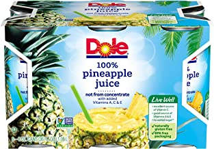 DOLE 100% Pineapple Juice, 6 Ounce Can (Pack of 6)