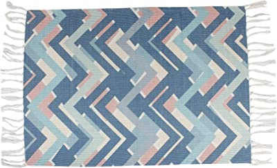 Bless International PET Home and Kitchen Rug Vintage Non Accent Area Carpet for Kids and Living Room,Home Decor,Picnic,Travel, (Colorful Zig-Zag Multilines White)