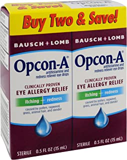 Bausch & Lomb Opcon-A Eye Drops, 0.5 Ounce (Pack of 2), Package may vary